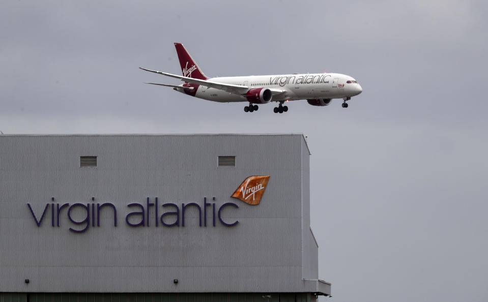 A Virgin Atlantic plane coming in to land at Heathrow Airport. Photo: Steve Parsons/PA Images via Getty Image