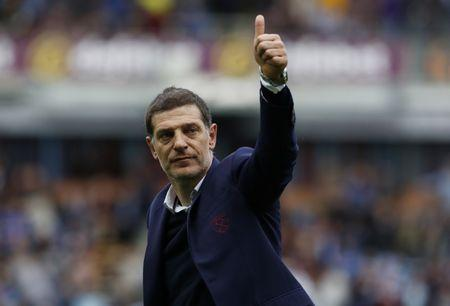 Britain Football Soccer - Burnley v West Ham United - Premier League - Turf Moor - 21/5/17 West Ham United manager Slaven Bilic celebrates after the match  Action Images via Reuters / Craig Brough Livepic