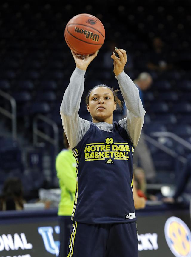 Notre Dame guard Kayla McBride shoots during their NCAA women's college basketball tournament practice at the Purcell Pavilion in South Bend, Ind., Friday, March 28, 2014. Notre Dame plays Oklahoma State Saturday. (AP Photo/Paul Sancya)