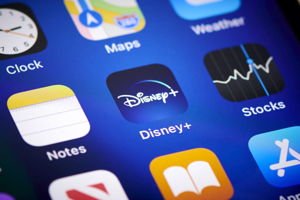 Close-up detail of the Disney+ app icon on an Apple iPhone 12 Pro smartphone screen, on November 11, 2020. (Photo by Phil Barker/Future Publishing via Getty Images)