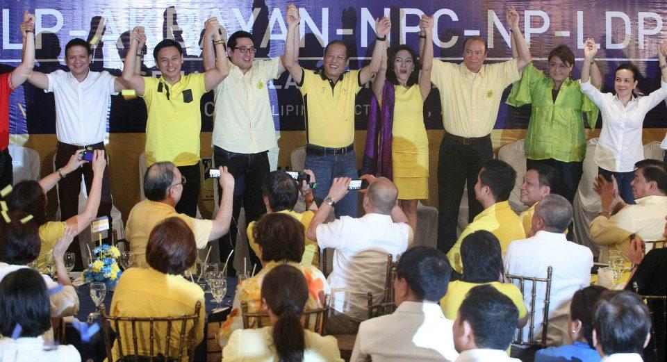 President Benigno 'Noynoy' Aquino III presents the 2013 Senate slate of the administration's Liberal Party at Club Filipino in San Juan before they filed certificates of candidacies before the poll body Monday, Oct. 1. (Photo by the Malacañang Photo Bureau)
