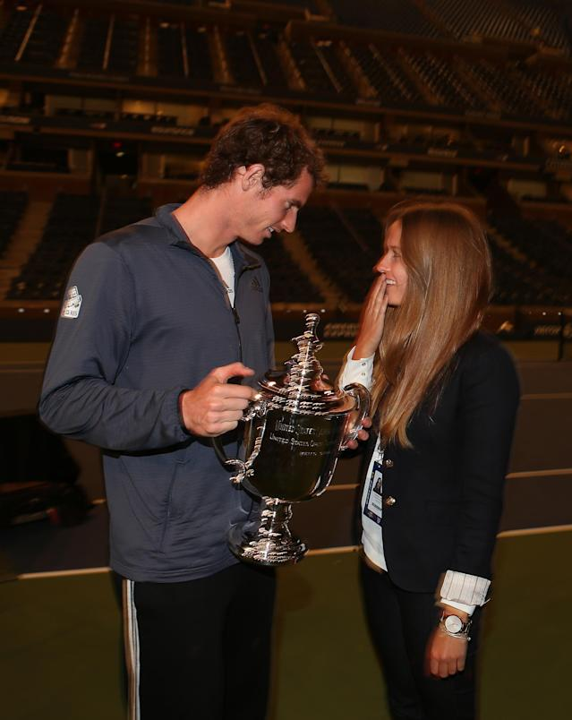 NEW YORK, NY - SEPTEMBER 10: Andy Murray with his girlfriend Kim Sears and the trophyduring Day Fifteen of the 2012 US Open at USTA Billie Jean King National Tennis Center on September 10, 2012 in the Flushing neighborhood of the Queens borough of New York City. (Photo by Clive Brunskill/Getty Images)