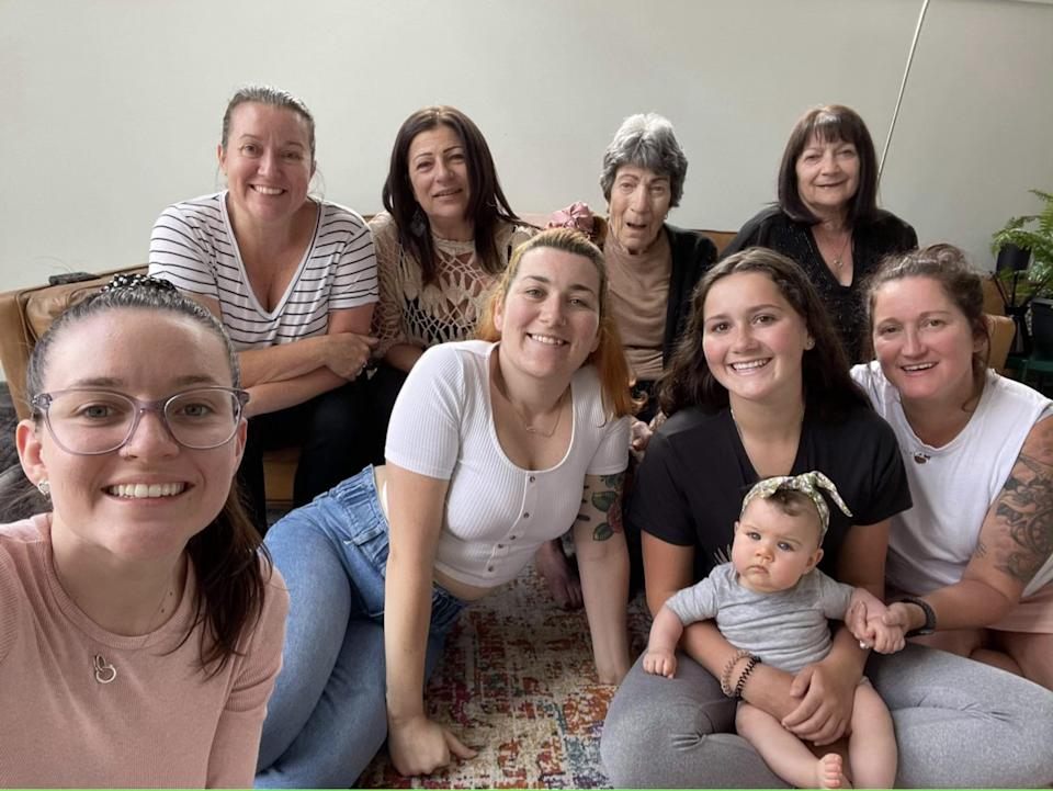 Kloe (front left) takes a selfie with her family members. Back row: Kloe's mum Julie-Anne, her aunt Angela, great nanna Dida, nanna Mary-Anne. Centre: Kloe's sister Mariah, Kloe's cousin Olivia, her aunt Lisa and Kloe's niece Lainey.