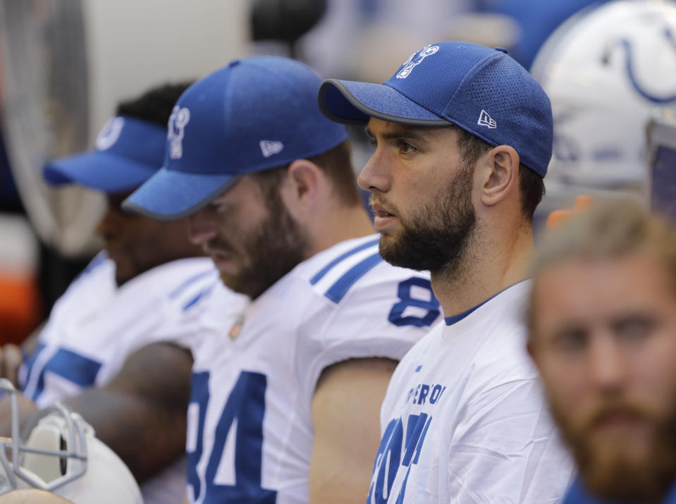 Waiting game: No one seems quite sure when Andrew Luck will return to the field for the Colts. (AP)