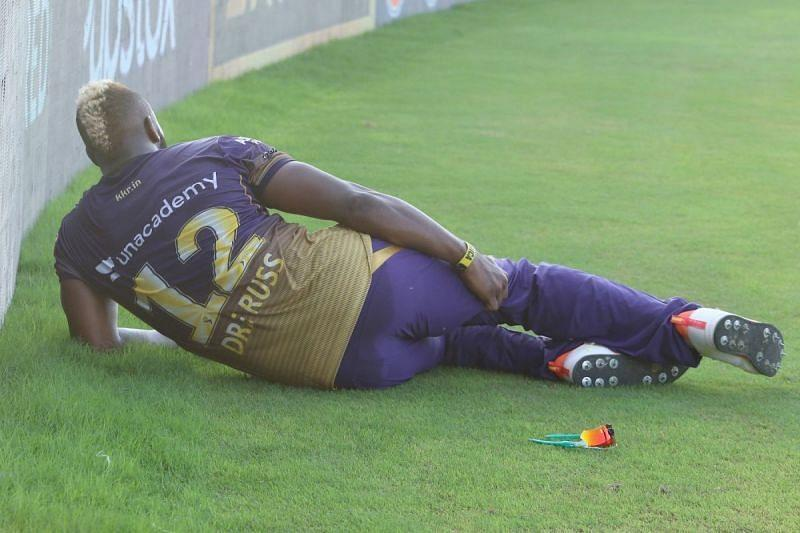 Andre Russell hurt himself while fielding. (Credit: BCCI/IPL)