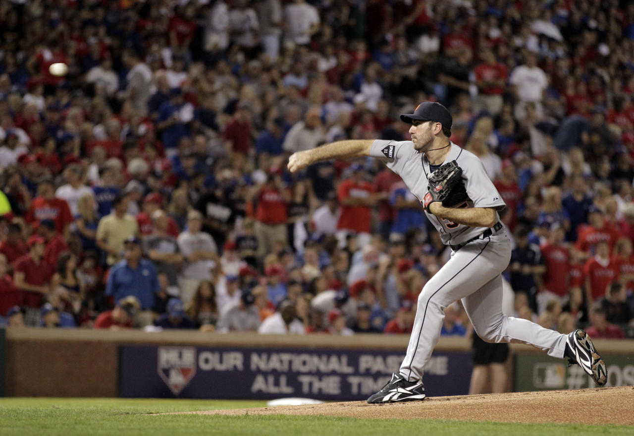Detroit Tigers starting pitcher Justin Verlander throws a pitch during the first inning of Game 1 of baseball's American League championship series against the Texas Rangers Saturday, Oct. 8, 2011, in Arlington, Texas. (AP Photo/Charlie Riedel)