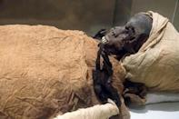 """The mummified remains of Pharaoh Seqenenre Taa II, """"the Brave"""", who reigned over southern Egypt some 1,600 years before Christ, are the oldest of the 22 mummies being paraded through the streets of Cairo"""
