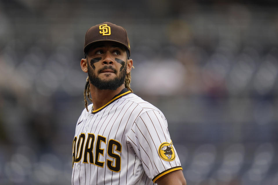 San Diego Padres shortstop Fernando Tatis Jr. of a baseball game against the Pittsburgh Pirates Wednesday, May 5, 2021, in San Diego. (AP Photo/Gregory Bull)