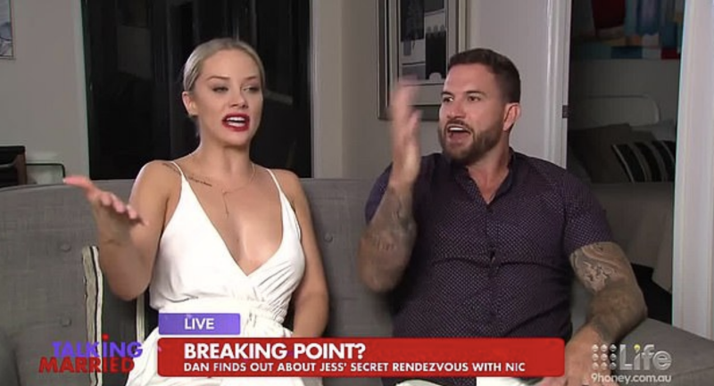 Dan says the pair split on Monday night after their live TV tiff on Talking Married. Photo: Channel Nine