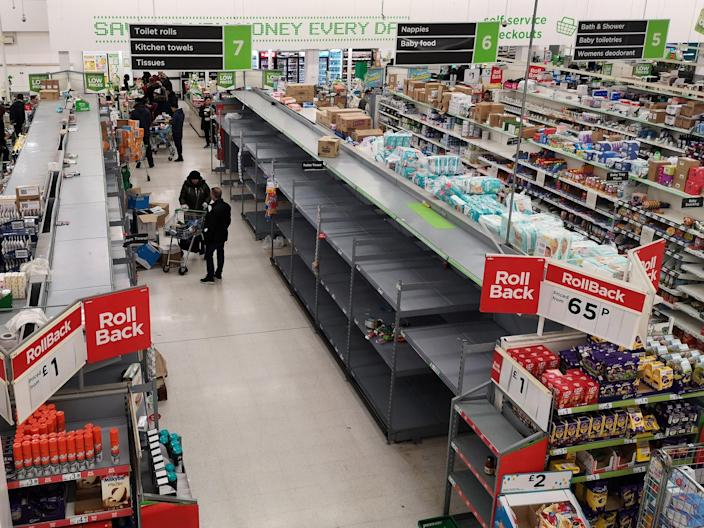 Image: Empty shelves in a supermarket in London (Justin Tallis / AFP - Getty Images)