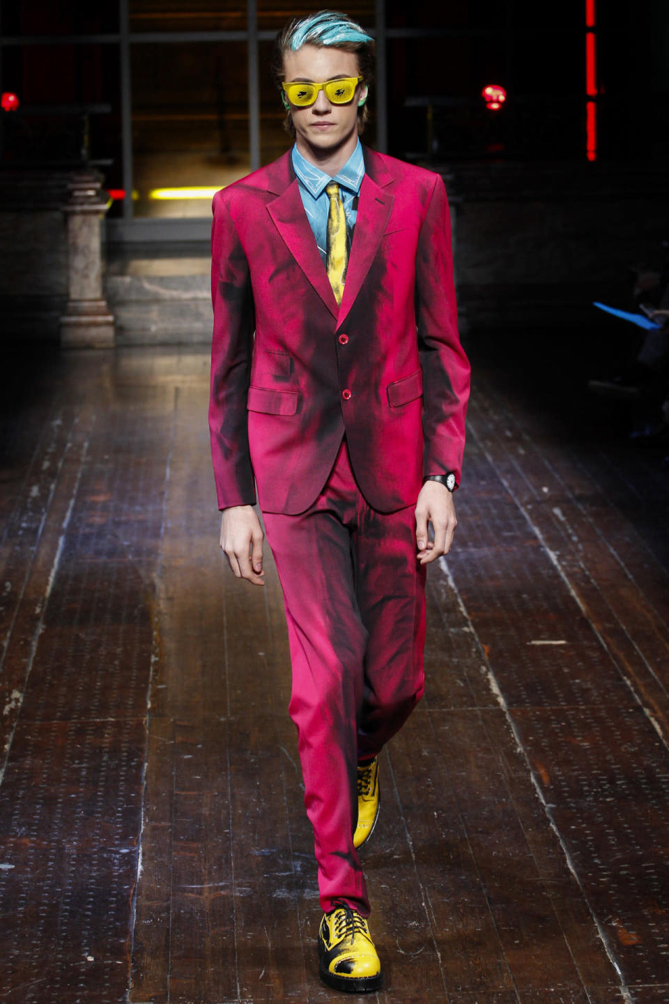 <p>Jeremy Scott was inspired Andy Warhol's pop-art aesthetic for Fall. Models like Lucky Blue strutted the runway looking like real life works of art.<i> Photo: Getty Images</i></p>