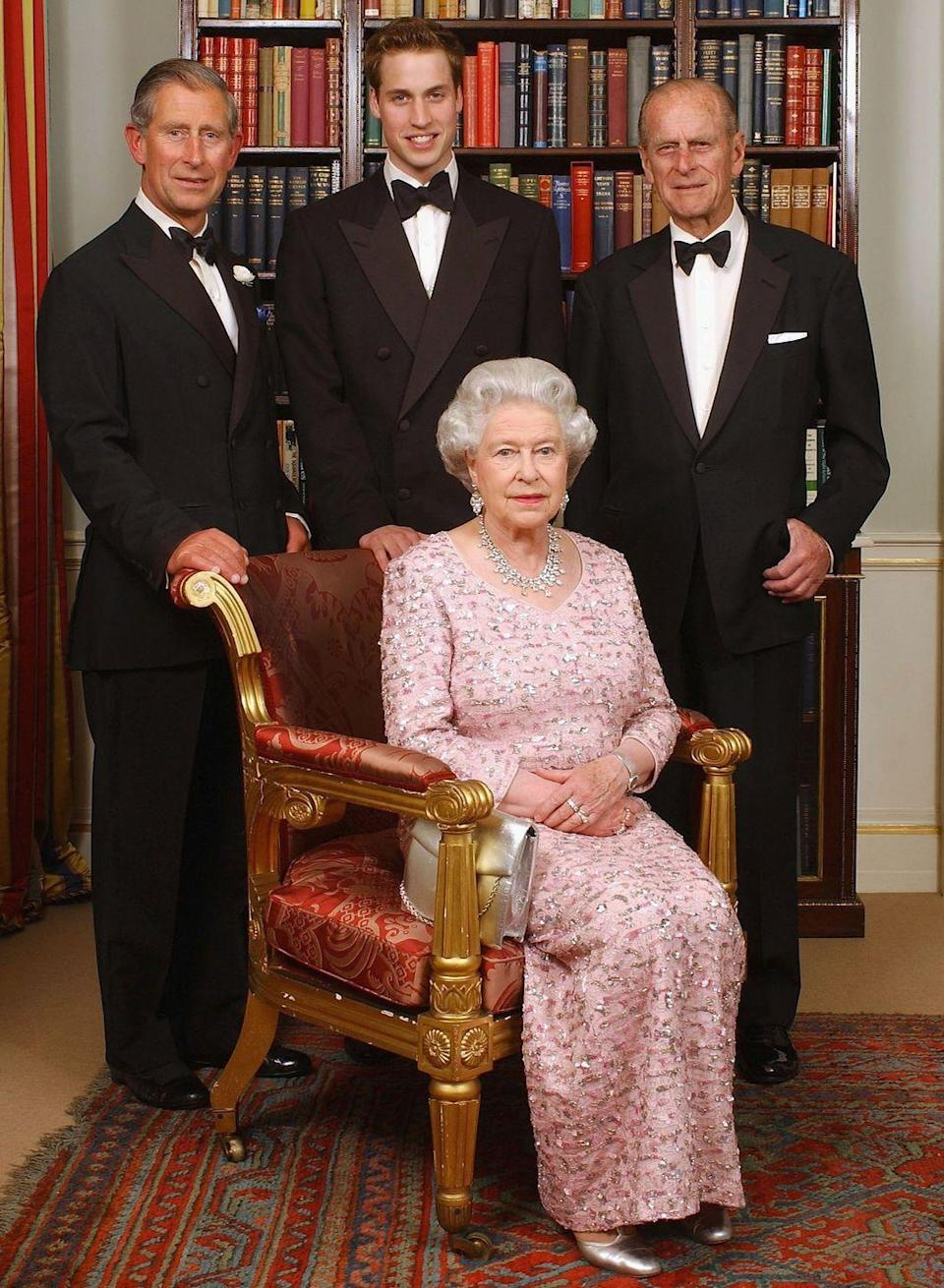 <p>In 2003, the Queen posed for a photo with Prince Philip, Prince Charles, and Prince William in honor of the 50th anniversary of the Queen's coronation. The Queen chose a pale pink dress with dazzling details, worn with a diamond necklace.</p>