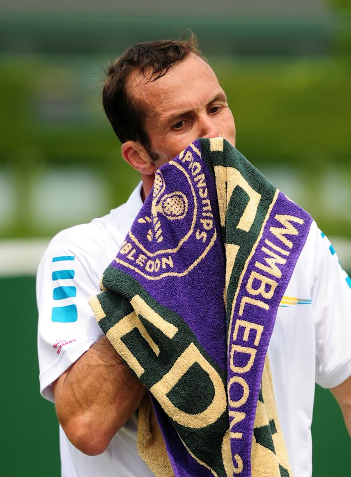 Czech Republic's Radek Stepanek in his match against Poland's Jerzy Janowicz during day Three of the Wimbledon Championships at The All England Lawn Tennis and Croquet Club, Wimbledon.