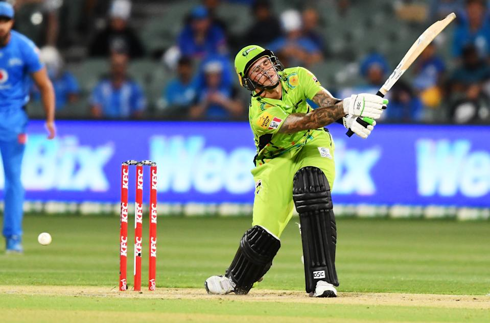 Alex Hales of the Thunder beaten by Chris Tremain of the Thunder during the Big Bash League match between the Adelaide Strikers and the Sydney Thunder at Adelaide Oval, on January 25, 2021, in Adelaide, Australia.