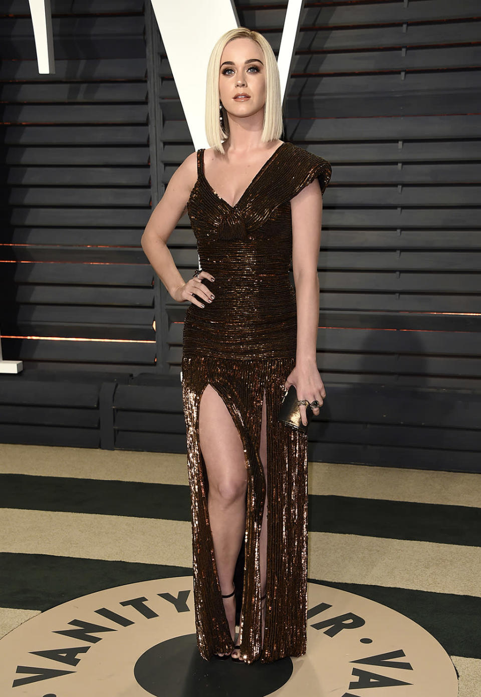 <p>Katy Perry arrives at the Vanity Fair Oscar Party on Sunday, Feb. 26, 2017, in Beverly Hills, Calif. (Photo by Evan Agostini/Invision/AP) </p>