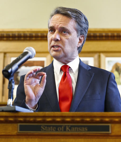 Kansas Gov. Jeff Colyer addresses the media at the Kansas Statehouse Wednesday, Aug. 8, 2018, in Topeka, Kan., after the primary election leaves him trailing by less than 200 votes to Secretary of State Kris Kobach. (Chris Neal/The Topeka Capital-Journal via AP)