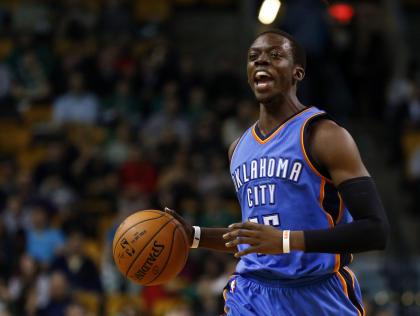 Thunder point guard Reggie Jackson had 28 points and eight assists against Boston on Wednesday night. (USA TODAY Sports)