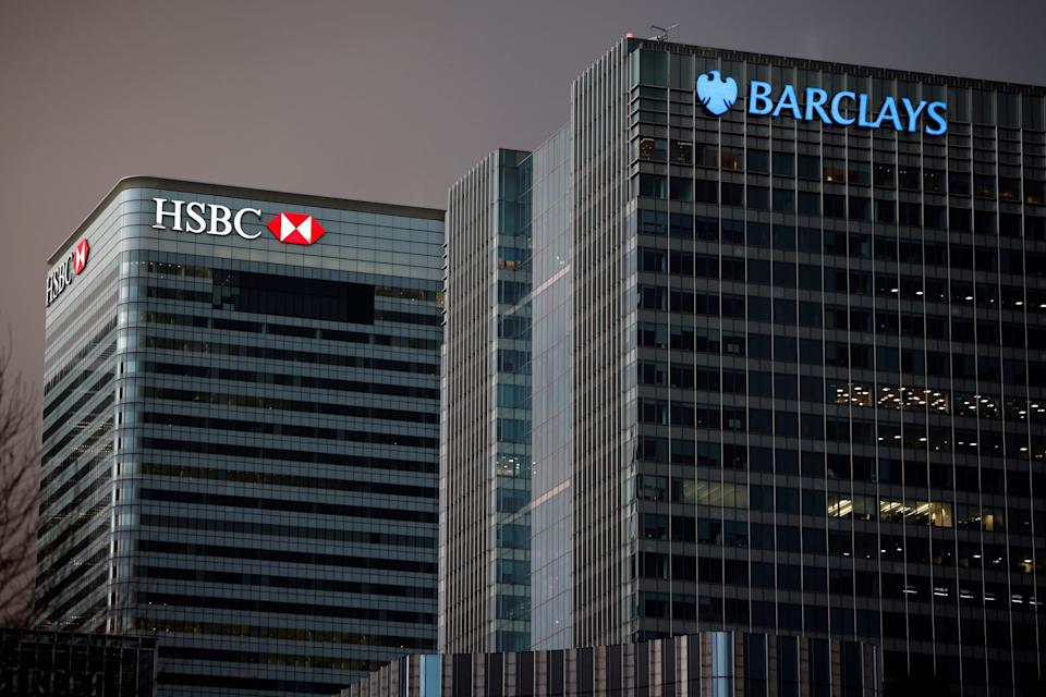 "The offices of banking giants HSBC and Barclays are pictured at the the secondary central business district of Canary Wharf on the Isle of Dogs, east London on December 11, 2020. - A Brexit trade deal between Britain and the European Union looked to be hanging in the balance on Friday, after leaders on both sides of the Channel gave a gloomy assessment of progress in last-gasp talks. The Bank of England said Friday that UK banks remained ""resilient"" to the risks of Brexit and coronavirus, but warned financial services could face ""disruption"" when the transition period ends. (Photo by Tolga Akmen / AFP) (Photo by TOLGA AKMEN/AFP via Getty Images)"