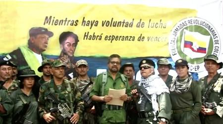 FILE PHOTO: Former FARC commander known by his alias Ivan Marquez reads a statement that they will take they insurgency once again