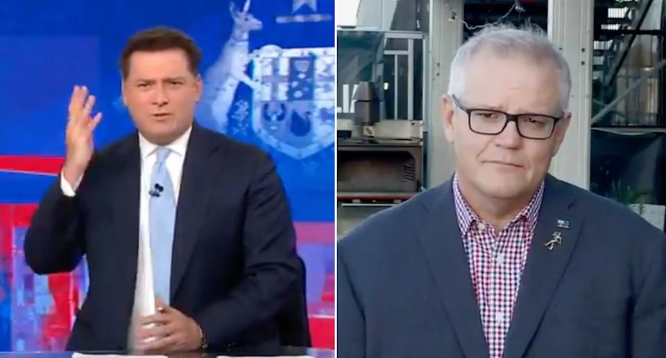 Scott Morrison, right, took umbrage with the suggestion from Karl Stefanovic, left, the softer stance was a shift from the government.