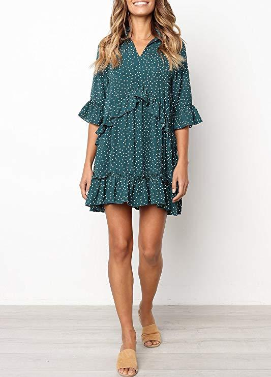 """<h3><a href=""""https://amzn.to/2OyYQMC"""" rel=""""nofollow noopener"""" target=""""_blank"""" data-ylk=""""slk:Amazon Polka-Dot Ruffle Dress"""" class=""""link rapid-noclick-resp"""">Amazon Polka-Dot Ruffle Dress</a></h3><br>This flowy frock was a top-seller from our roundup of <a href=""""https://www.refinery29.com/en-us/best-fall-dresses-amazon"""" rel=""""nofollow noopener"""" target=""""_blank"""" data-ylk=""""slk:affordable Amazon dresses"""" class=""""link rapid-noclick-resp"""">affordable Amazon dresses</a> — and at 47% off, it's even more of a sweet steal. <br><br><strong>Mitilly</strong> MITILLY Polka-Dot Ruffle Dress, $, available at"""