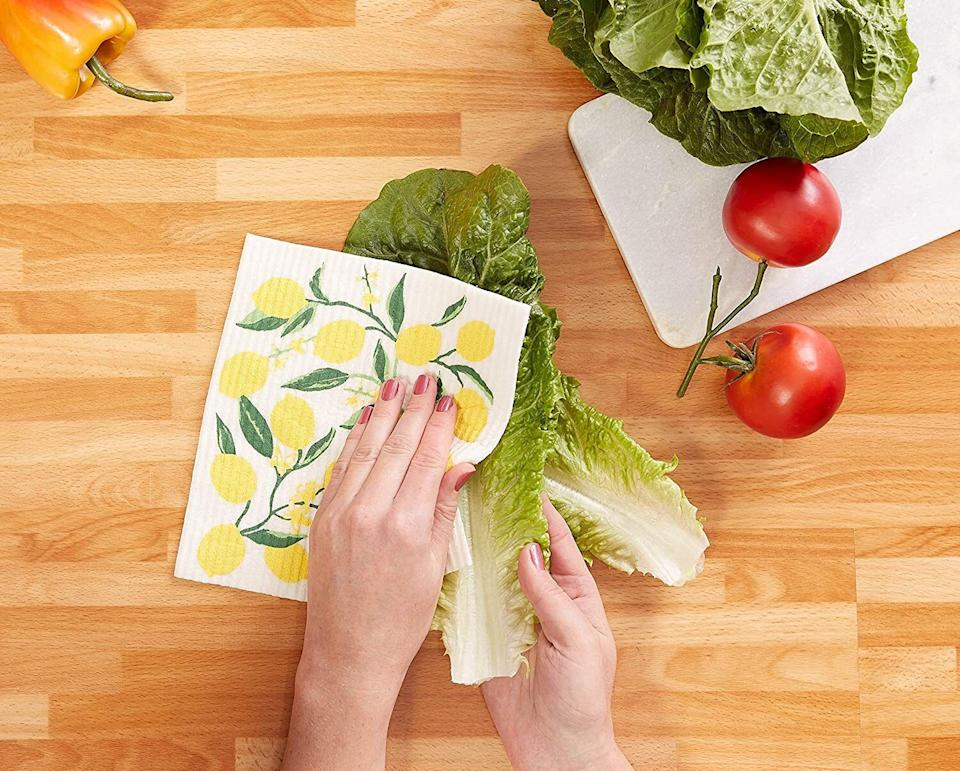 """Made of cellulose and cotton, you can use these dishcloths to clean your counters, stovetops, dishes, shower doors and mirrors — and they come in fun designs!<br /><br /><strong>Promising review:</strong>""""These are awesome and I don't know why I didn't learn to use these in the kitchen and bathroom ages ago. They wipe down countertops, sinks, and everything, leaving hardly any water behind and pick up even the smallest of debris, lint, etc. These are great quality."""" —<a href=""""https://amzn.to/3sJGd9B"""" target=""""_blank"""" rel=""""noopener noreferrer"""">Shopper56<br /></a><br /><strong>Get a set of three from Amazon for<a href=""""https://amzn.to/2PdEnzR"""" target=""""_blank"""" rel=""""noopener noreferrer"""">$15.20+</a>(available in 18 styles).</strong>"""
