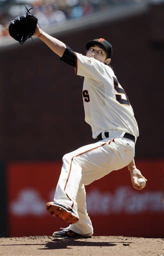 San Francisco Giants pitcher Tim Lincecum delivers against the San Diego Padres during the first inning of a baseball game in San Francisco, Wednesday, July 25, 2012. (AP Photo/Jeff Chiu)