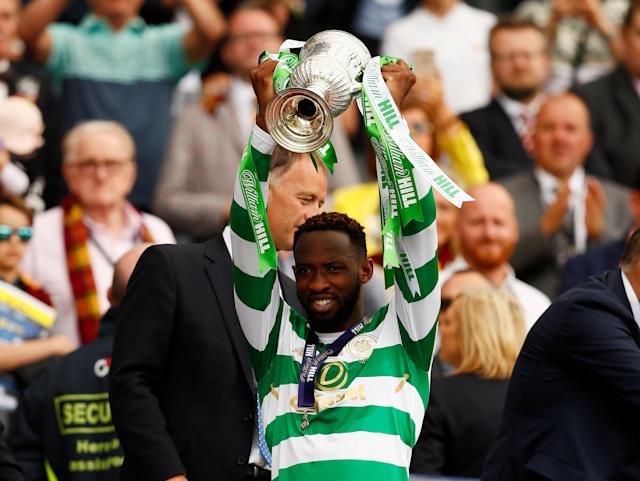 Soccer Football - Scottish Cup Final - Celtic vs Motherwell - Hampden Park, Glasgow, Britain - May 19, 2018 Celtic's Moussa Dembele celebrates with the trophy after winning the Scottish Cup Action Images via Reuters/Jason Cairnduff