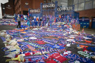 Tributes for former Rangers player Fernando Ricksen outside Ibrox Stadium. (Photo by Jane Barlow/PA Images via Getty Images)