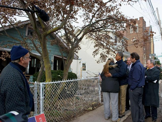 Then President Barack Obama with Staten Island residents, Nov. 15, 2012. (Photo: Mandel Ngan/AFP/Getty Images)