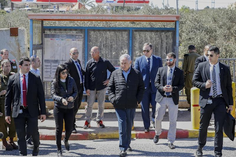 Israeli Prime Minister Benjamin Netanhayu visited the scene of the attack and vowed tough action (AFP Photo/Jack GUEZ)
