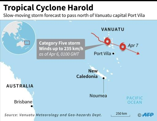 Map locating Tropical Cyclone Harold which intensified to a category five storm as it hit Vanuatu on Monday