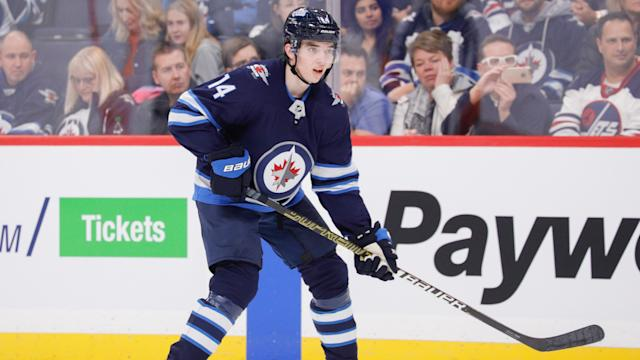 Ville Heinola hasn't looked out of place for the Winnipeg Jets and could anchor what's expected to be a dominant Finnish defence. (Darcy Finley/NHLI via Getty Images)