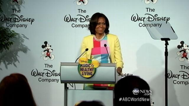 First lady teams up with Disney CEO in battle over childhood obesity.