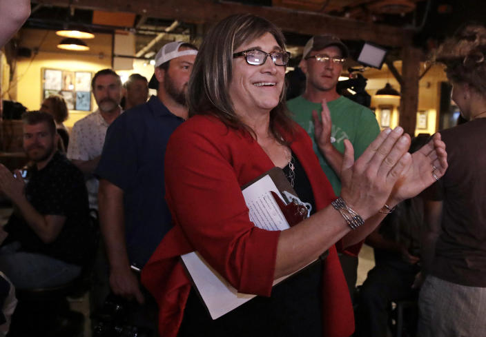 """<span class=""""s1"""">Vermont Democratic gubernatorial candidate Christine Hallquist during her election night party in Burlington, Vt., on Tuesday. (Photo: Charles Krupa/AP)</span>"""