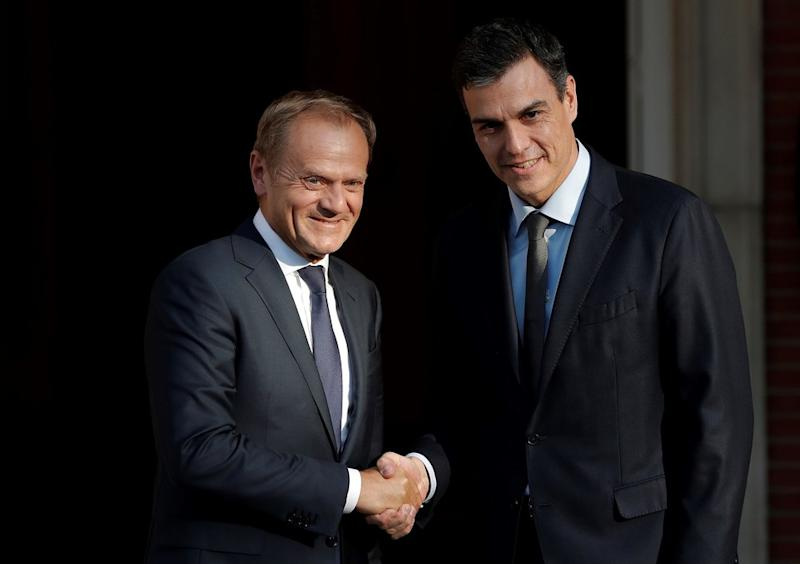 Spanish Prime Minister Pedro Sanchez (right) meets European Council President, Donald Tusk in Madrid on Tuesday.