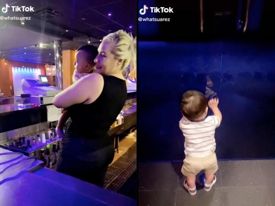 Strip club manager sparks conversation about childcare after revealing she brings son to club (TikTok / @whatsuarez)