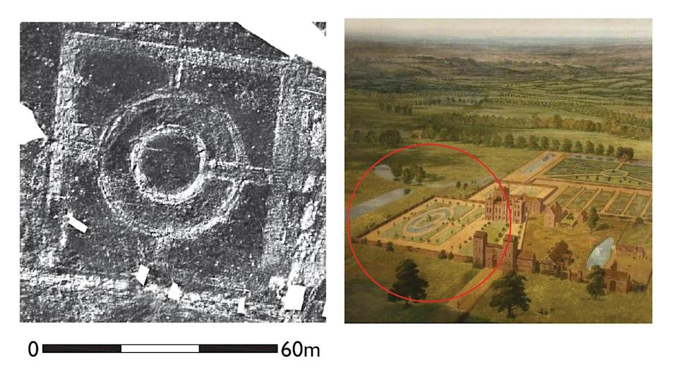 The ground penetrating radar survey shows the survival of historic garden features, seen in a contemporary painting showing the gardens around 1710. (Historic England/ Thurrock Museum/ PA)