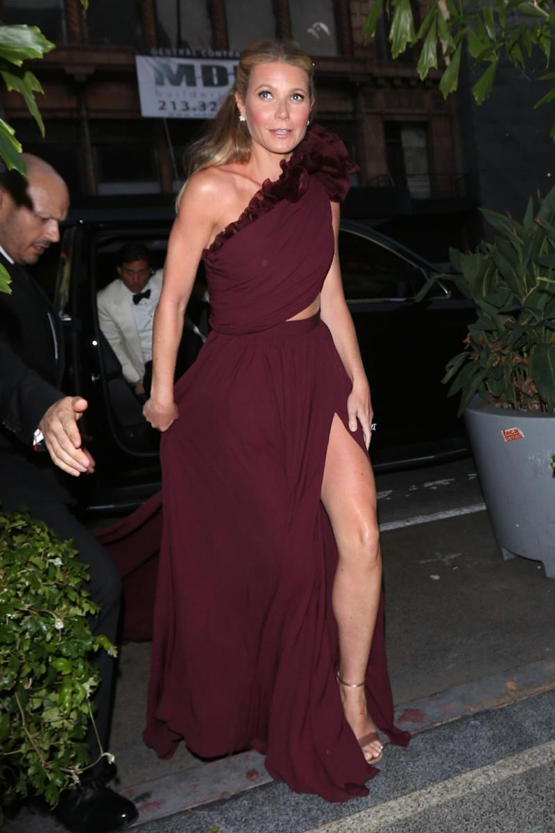 Actress Gwyneth Paltrow arrives at her engagement party in Los Angeles over the weekend. Source: Splash