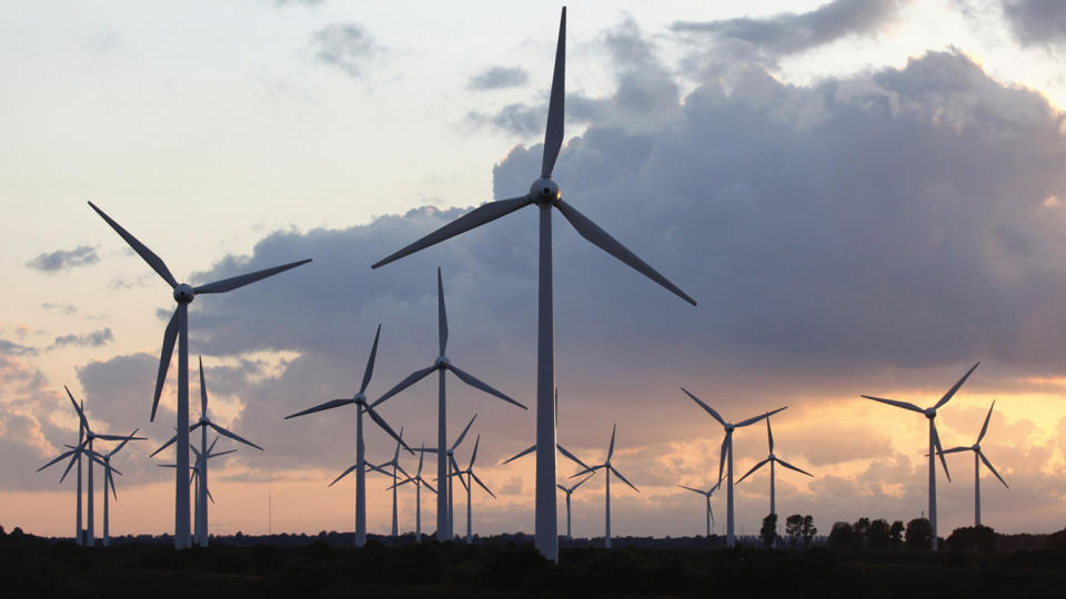 Wind power plant in north-west Germany near the city of Emden. (plus49/Construction Photography/Avalon/Getty Images)