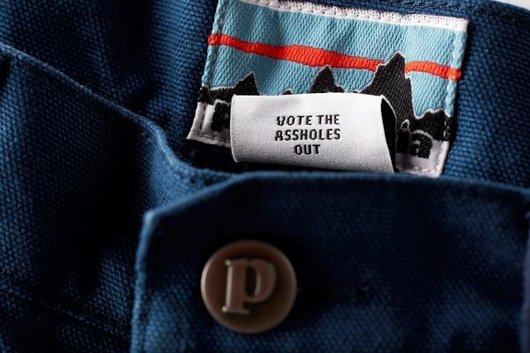 "This undated handout image courtesy of outdoor retailer Patagonia shows the label of limited-edition pair of shorts reading ""Vote the assholes out""."