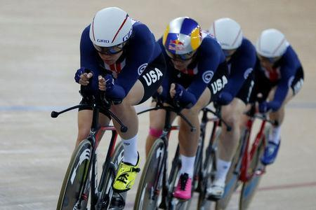 Cycling - UCI Track World Championships - Women's Team Pursuit, Final - Hong Kong, China – 13/4/17 - The U.S. team in action. REUTERS/Bobby Yip