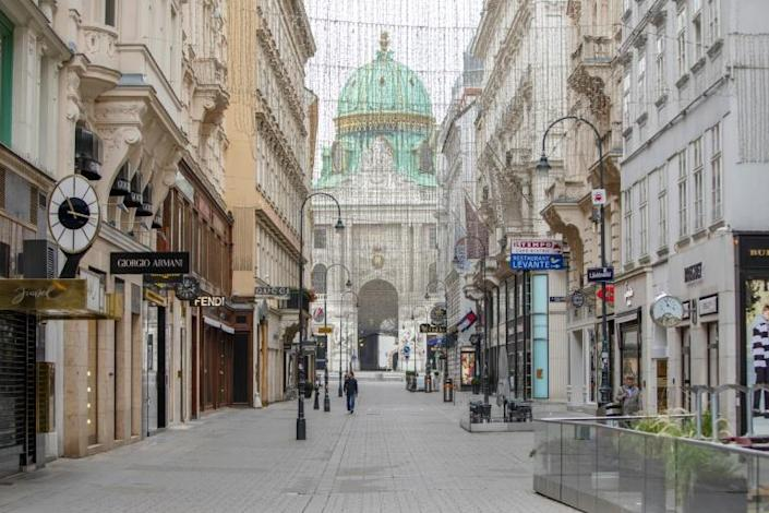 Central Vienna's opulent streets were almost empty the day after the attack, in part due to a newly-imposed coronavirus lockdown