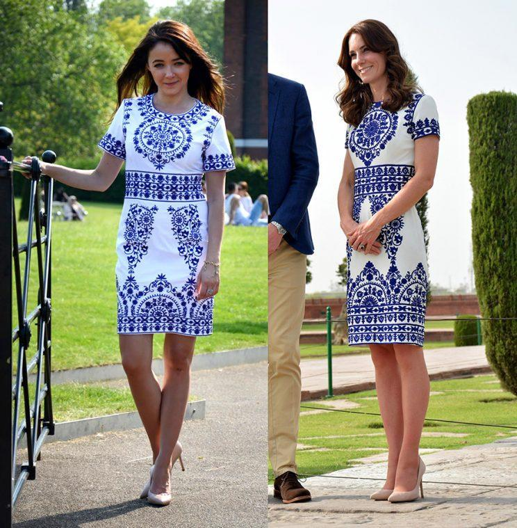 Kate Middleton in a blue-and-white Naeem Khan dressand Urbanksa's $37 knockoff.