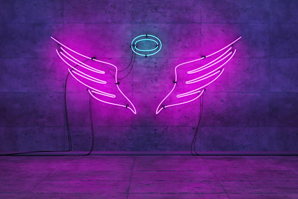 neon pink lamp with angel wings and crown in empty room for product or model display. 3d render