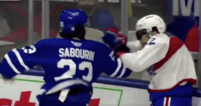 Marlies forward Scott Sabourin went absolutely bananas against Laval on Friday. (Twitter/AHL.tv)