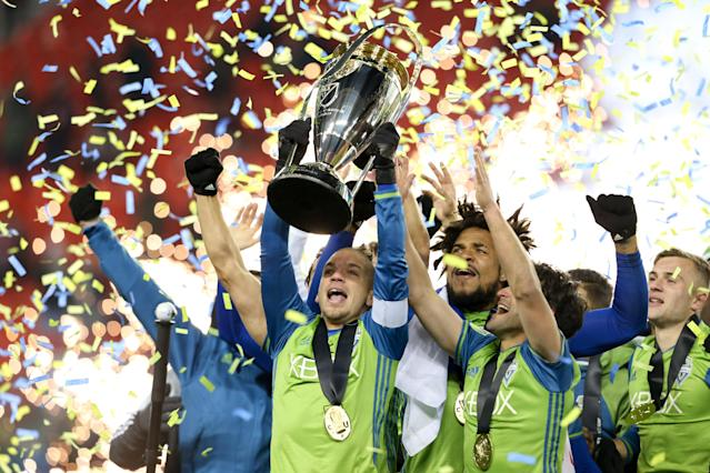 "The Seattle Sounders won MLS Cup on <a class=""link rapid-noclick-resp"" href=""/soccer/teams/toronto-fc/"" data-ylk=""slk:Toronto FC"">Toronto FC</a>'s home turn in 2016. A rematch is possible in 2017. (Getty)"