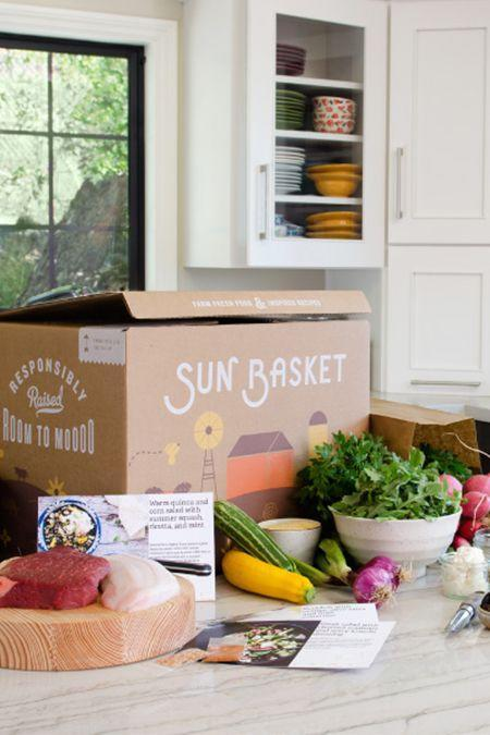"""<p><strong>Prices vary </strong></p><p>Each week, Sun Basket will deliver pre-measured, certified organic ingredients and easy-to-follow recipes straight to your door. This meal kit works great for those with dietary restrictions, since it has Paleo, vegan, <a href=""""https://www.goodhousekeeping.com/holidays/thanksgiving-ideas/g23084085/gluten-free-thanksgiving-recipes/"""" rel=""""nofollow noopener"""" target=""""_blank"""" data-ylk=""""slk:gluten-free"""" class=""""link rapid-noclick-resp"""">gluten-free</a>, diabetes-friendly and other specialized menus. Never panic when you hear """"what's for dinner?"""" again. <br></p><p><a class=""""link rapid-noclick-resp"""" href=""""https://go.redirectingat.com?id=74968X1596630&url=https%3A%2F%2Fsunbasket.com%2F&sref=https%3A%2F%2Fwww.goodhousekeeping.com%2Ffood-products%2Fg5043%2Fbest-monthly-food-subscription-boxes%2F"""" rel=""""nofollow noopener"""" target=""""_blank"""" data-ylk=""""slk:BUY NOW"""">BUY NOW</a></p>"""