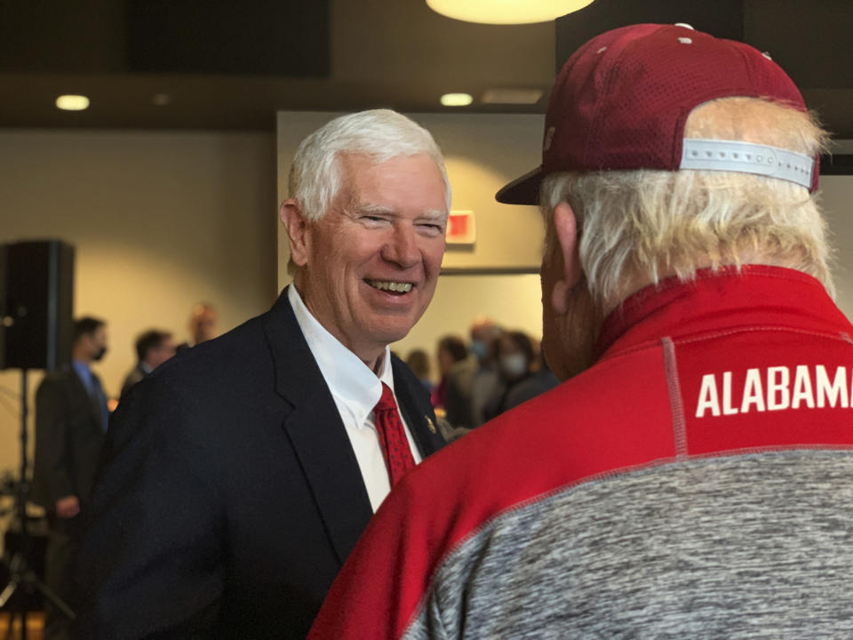 U.S. Rep. Mo Brooks greets supporters as he announces his campaign for U.S. Senate during a rally, Monday, March 22, 2021, in Huntsville, Ala. (AP Photo/Kim Chandler)