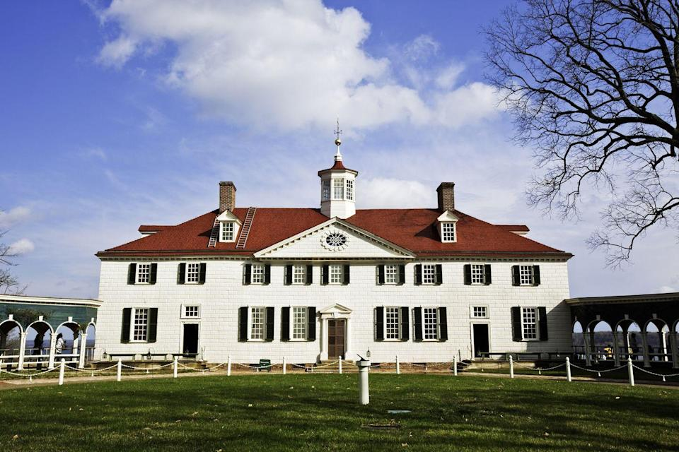 "<p>Mount Vernon, which was built in 1758 on 500 acres of land, became part of the Washington family in 1674 when George Washington's great-grandfather, John, purchased the property along with his friend, Nicholas Spencer. Despite being hundreds of years old, many of the design elements at Mount Vernon—like vibrant colors such as turquoise blue and emerald green and a checkerboard floor design—look as timely as ever. </p><a class=""link rapid-noclick-resp"" href=""https://virtualtour.mountvernon.org/"" rel=""nofollow noopener"" target=""_blank"" data-ylk=""slk:TOUR NOW"">TOUR NOW</a>"